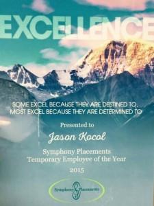 SP Staffing Employee Year Plaque 2015 Jason Kocol edited